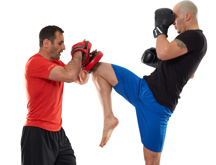 two men kick boxing training