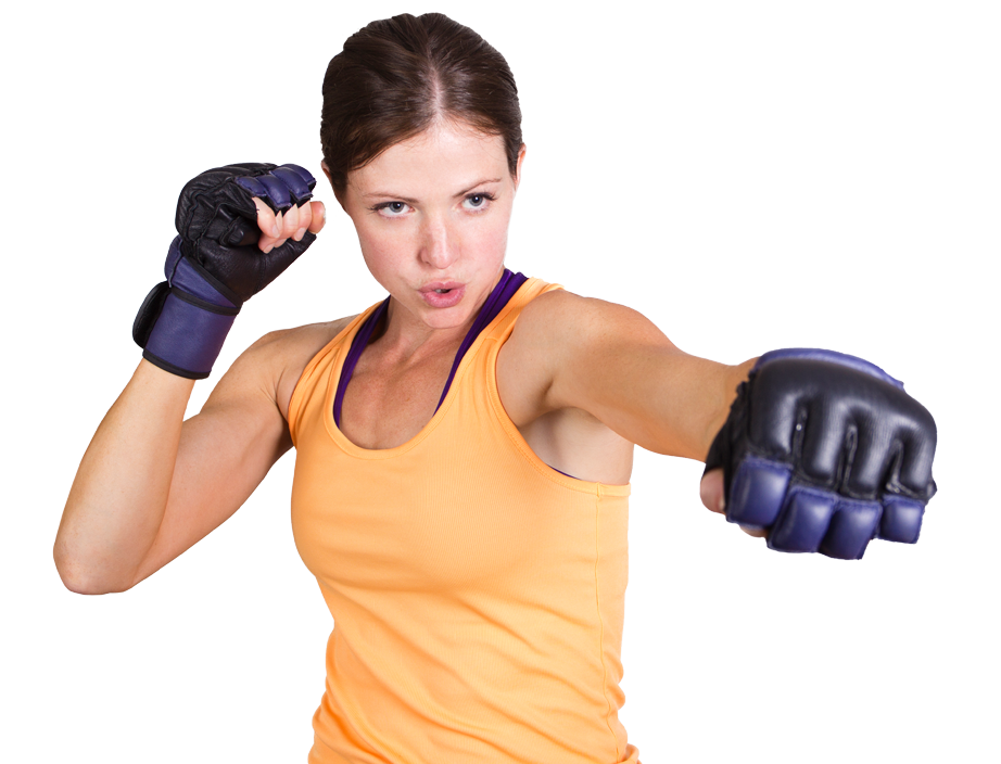 woman in gloves punching