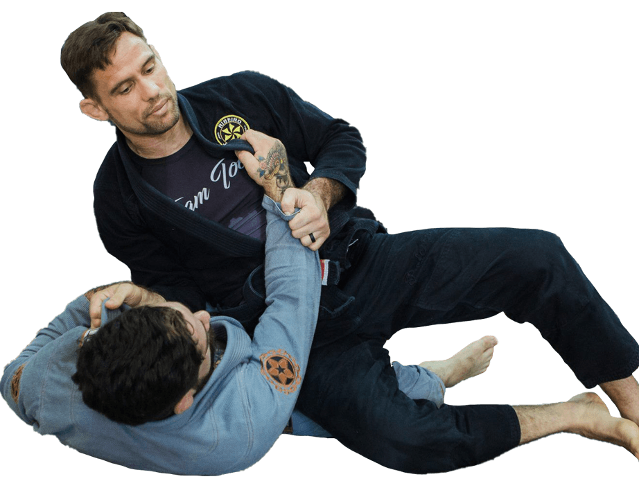 2 men practicing Jiu Jitsu