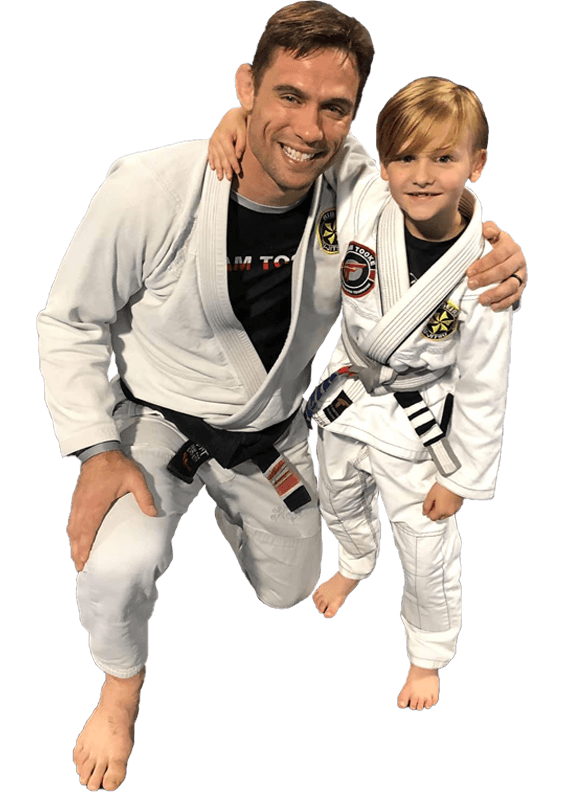 Travis Tooke with martial arts student