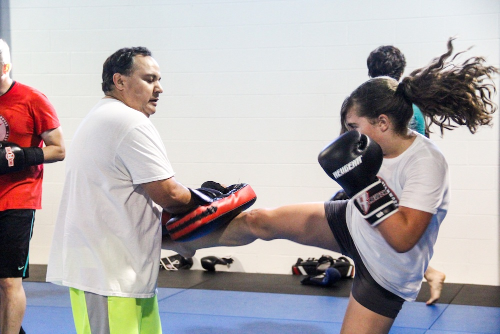 woman in kickboxing class